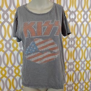JUNK FOOD KISS Lips Band Tee Shirt Flag Medium